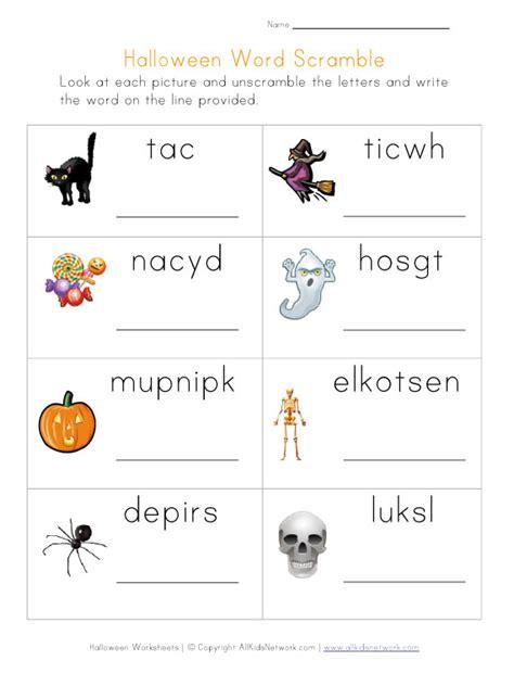 halloween word scramble printable worksheets