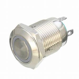 12v 12mm Car Silver Aluminum Led Power Push Button Switch