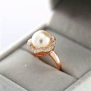 pearl engagement rings gold sale 18k gold plated noble imitation pearl engagement ring free shipping jpg