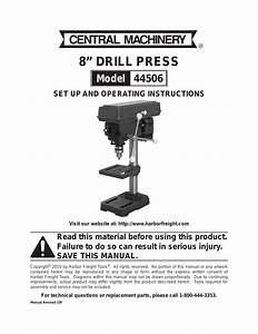 Harbor Freight Tools 8 Drill Press 44506 User Manual