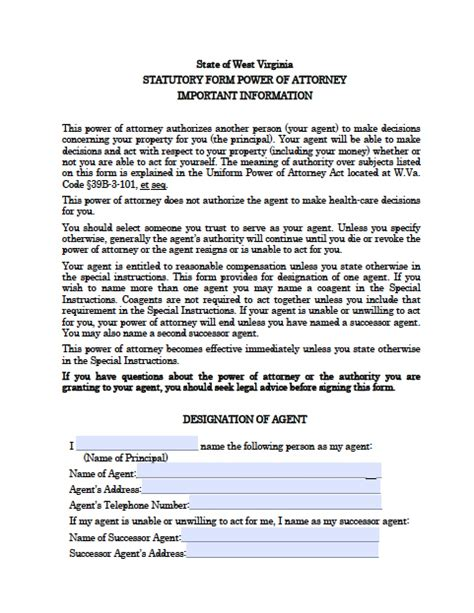 virginia power of attorney form pdf west virginia durable financial power of attorney form