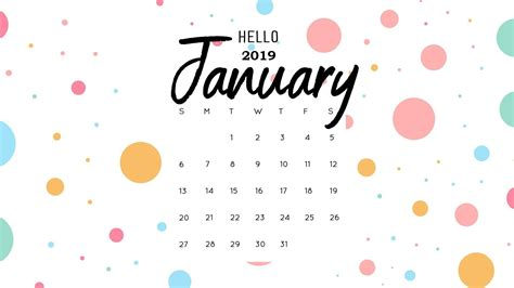 Hello January 2019 Calendar Wallpaper Monthly Calendar