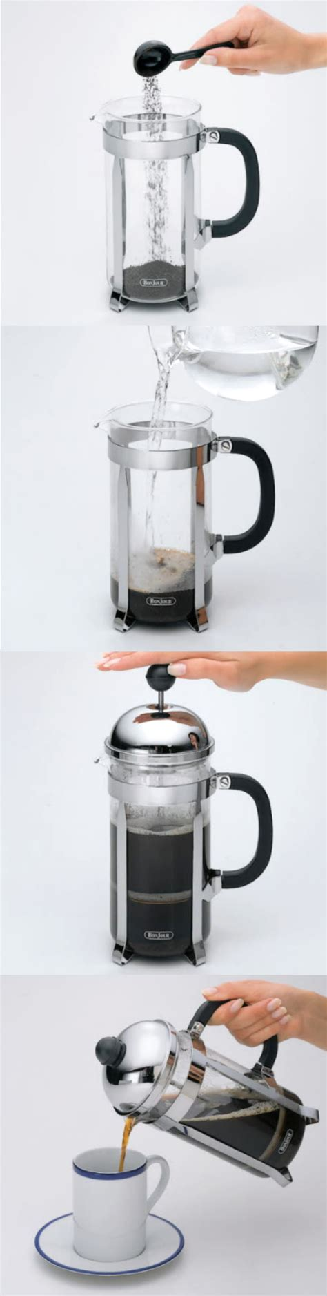 Just do the math, measure your coffee and for a homemade french press (assuming it has some sort of strainer), the process would be to use a coarsely ground coffee at a ratio of around 1. How to Use a French Press Coffee Brewer: 1. Add 8 ...