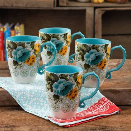 The Pioneer Woman Rose Shadow Jumbo 26 Ounce Latte Mug Set