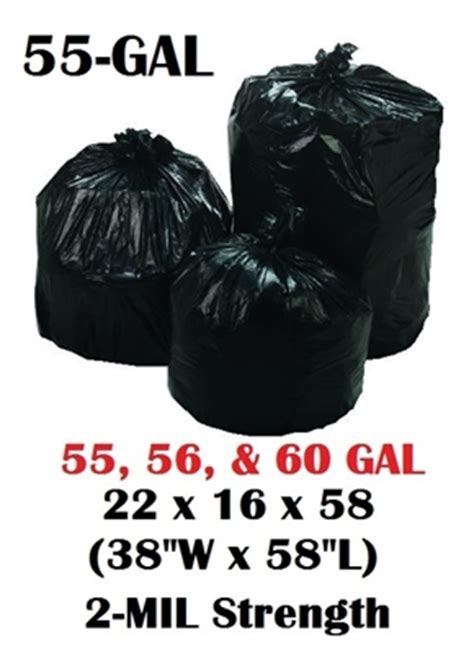 55 Gallon Trash Bags Garbage Bags Can Liners   22 x 16 x