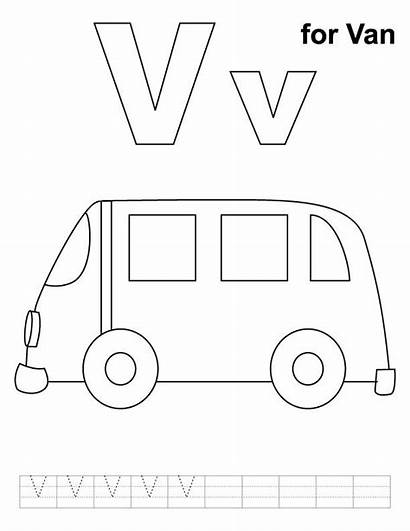 Van Coloring Letter Pages Sheets Printable Practice