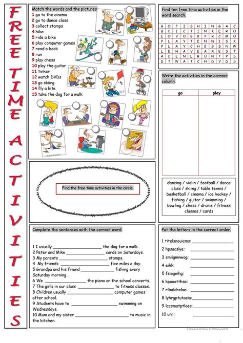 time activities vocabulary exercises worksheet