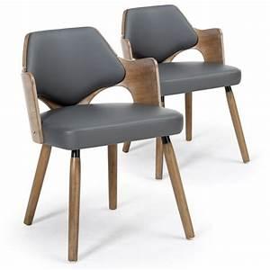 Chaise De Salon Design : chaises scandinave simili cuir gris mias lot de 2 pas cher scandinave deco ~ Teatrodelosmanantiales.com Idées de Décoration