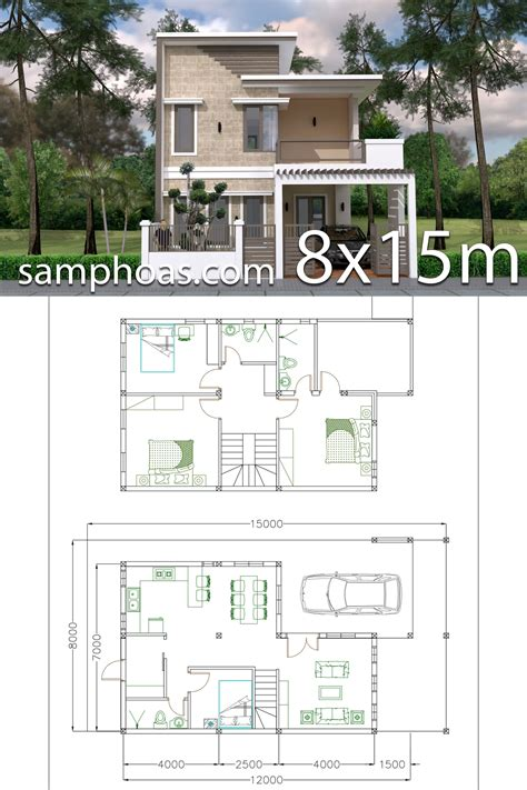 Home Design Plan 7x12m with 4 Bedrooms Plot 8x15 This