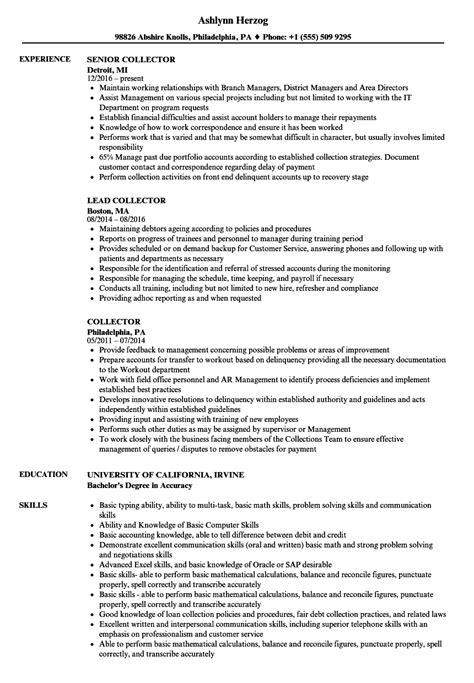 Specimen Of Resume by Collector Resume Sles Velvet