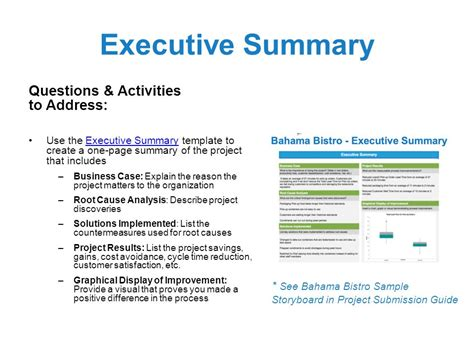 Fantastic One Page Executive Summary Template Composition - Resume ...