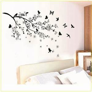 black butterfly tree flower removable wall decals sticker With black wall decals