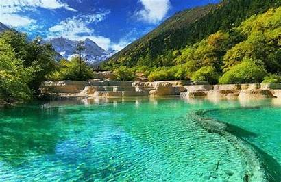 Natural Beauty China Huanglong Sichuan Cn Picturesque