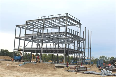 file steel frame commercial building under construction