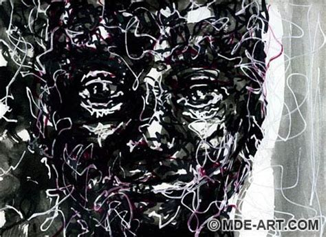 Abstract Faces Black And White by Sketches Of Abstract Faces Pen And Watercolor