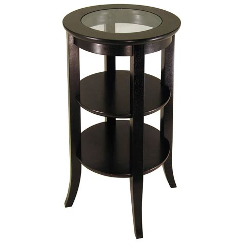 winsome genoa tall glass top side table  living