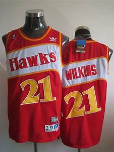Hawks 21 Dominique Wilkins Red Stitched Throwback Nba