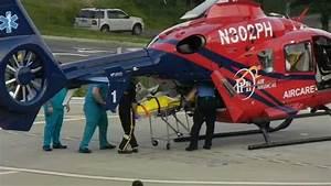 Emergency Helicopter Lands At Hospital
