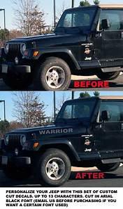 Jeep renegade wrangler tj cj custom hood decals decal 161 for Custom jeep lettering