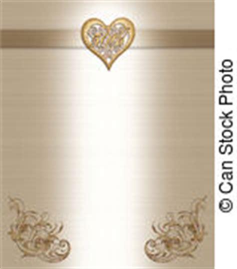 Clipart of Wedding invitation border gold 50th 3D scroll