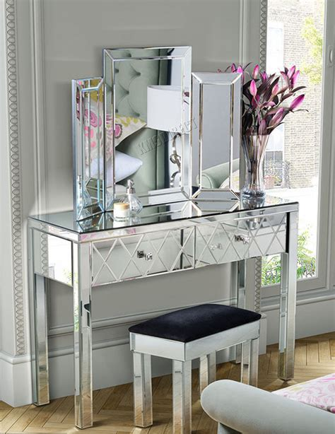 console chambre foxhunter mirrored furniture glass dressing table with