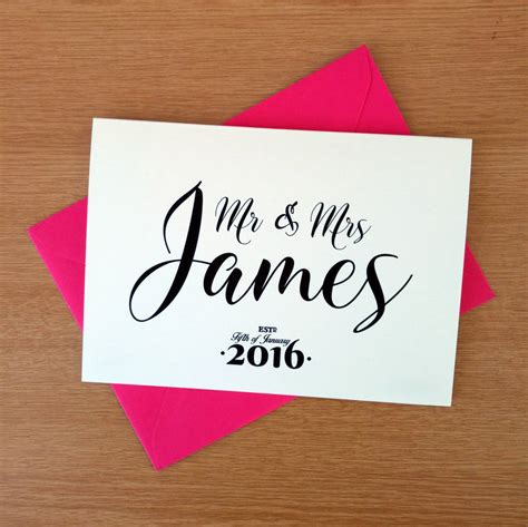 personalised wedding congratulations card  ivorymint