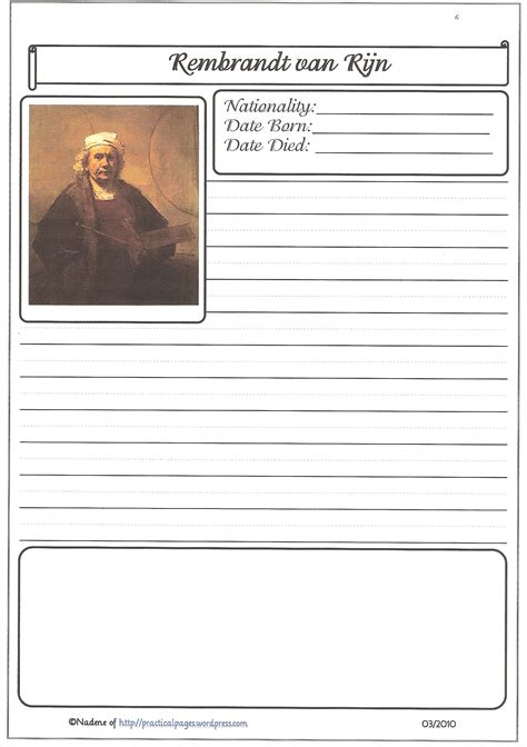 Historical Biography Template by Artists Biography Pages Practical Pages
