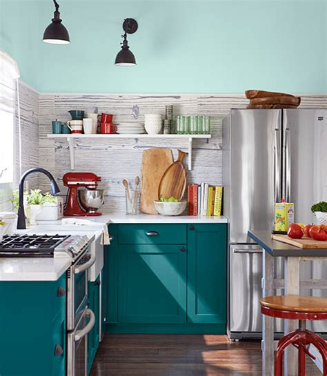Teal Green Kitchen Cabinets by Tasty Turquoise Kitchens Dans Le Lakehouse