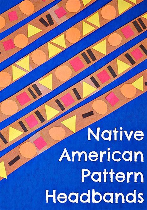 native american pattern headbands cutting tiny bites