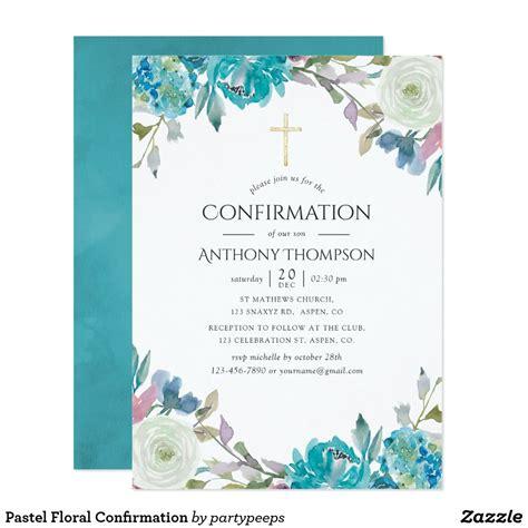 Pastel Floral Confirmation Invitation Zazzle com Holy