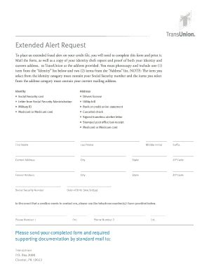 trans union traning template fillable online extended alert request transunion