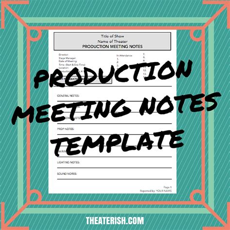 production meeting notes template theaterish
