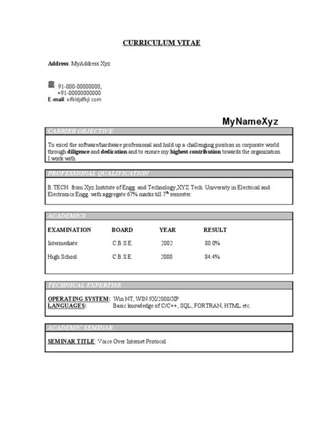 Ece Resume Format by Fresher Ece Resume Model 213