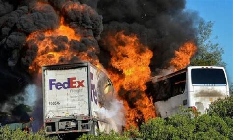 dead  fedex truck  student bus collision  california