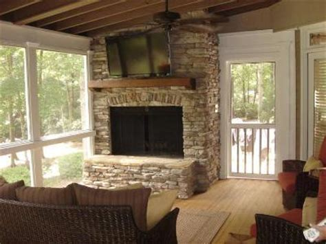 screened porch with fireplace archadeck of central ga macon warner robins decks