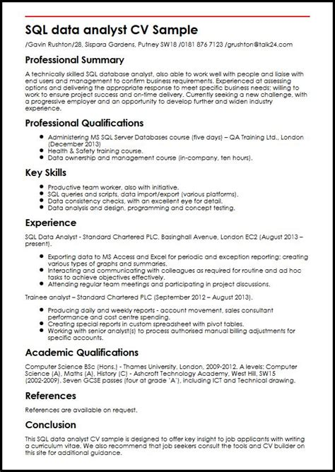 Sql Data Analyst Cv Sample  Myperfectcv. One Page Resume Format Doc. It Head Resume. Writing A Resume Letter. Bill Gates Resume. Good Opening Lines For Resumes. Supply Chain Analyst Resume. Entry Level Data Entry Resume Sample. Channel Sales Manager Resume Sample