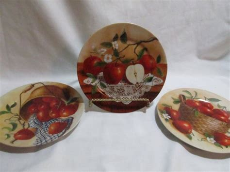 Red Apple Plates Kitchen Wall Decor Hand Painted Lot Of