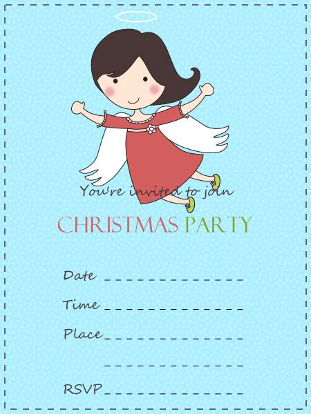 Cute Angel Christmas Party Invitation Best Gift Ideas Blog