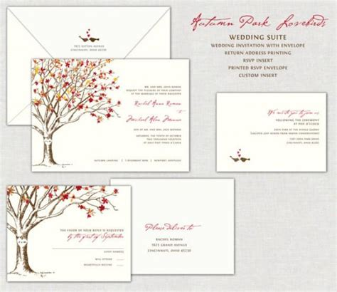 Autumn Park Lovebirds Wedding Invitation Invitations