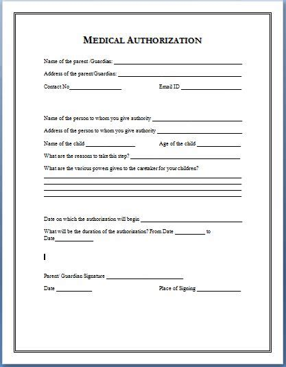child care medication authorization form sle medical authorization form templates printable