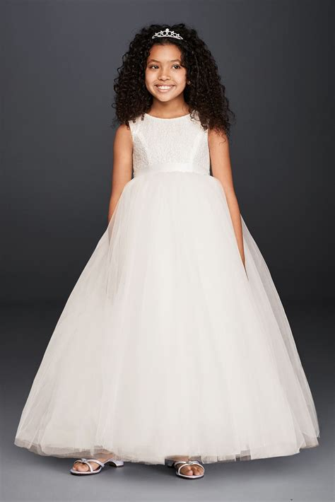 ball gown flower girl dress with heart cutout david s