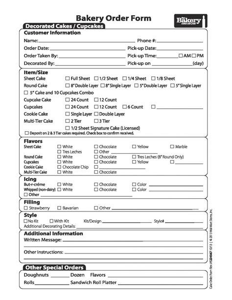 cake order form template need a cake in a grab a walmart bakery cake order form