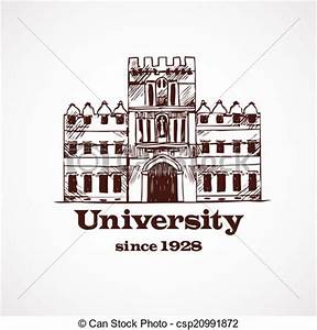 Vectors Illustration of University sketch building ...