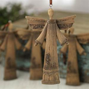 Rustic Faux Wood Angel Ornaments - Christmas Ornaments