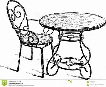 Chair Drawing Chairs Cafe Chaise Drawings Stoel