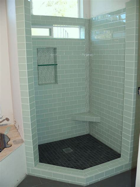 Glass Tile Bathroom Ideas by High Window In Bathroom And One Symmetrically On The Other