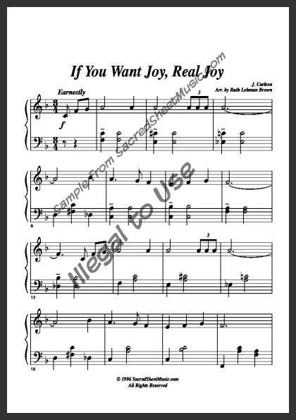 joy real joy sacredsheetmusiccom