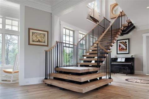 Nautical Style Living Room Furniture by Beach House Delight Beach Style Staircase Dc Metro
