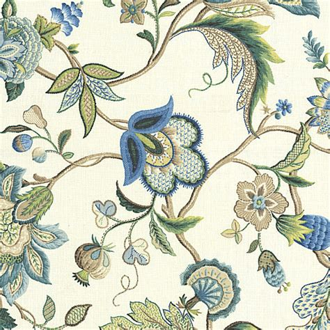 blue jacobean floral linen fabric traditional drapery
