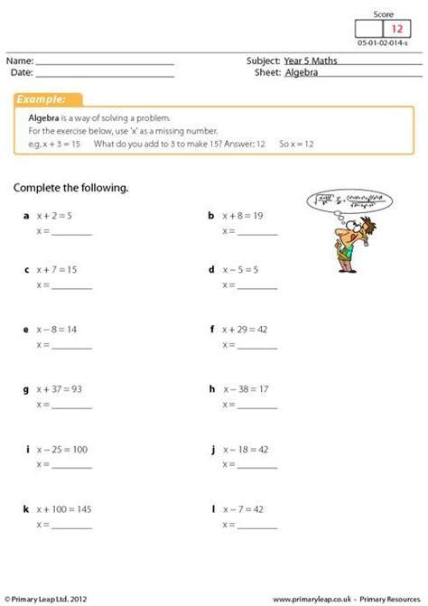 primaryleap co uk introducing algebra worksheet